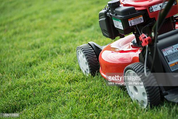 A young man mowing the grass on a property, tending the garden, using a petrol lawnmower.