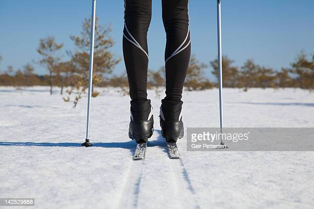 young man nordic skiing - ski pole stock pictures, royalty-free photos & images