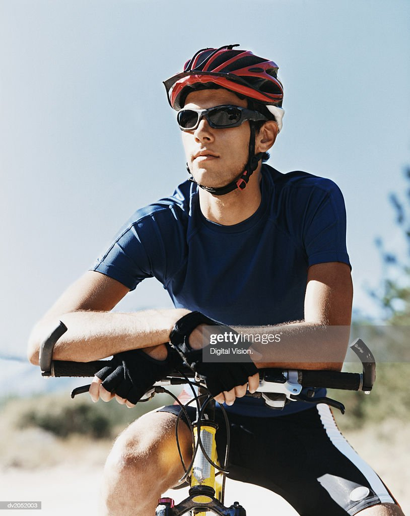 Young Man on a Mountain Bike : Stock Photo