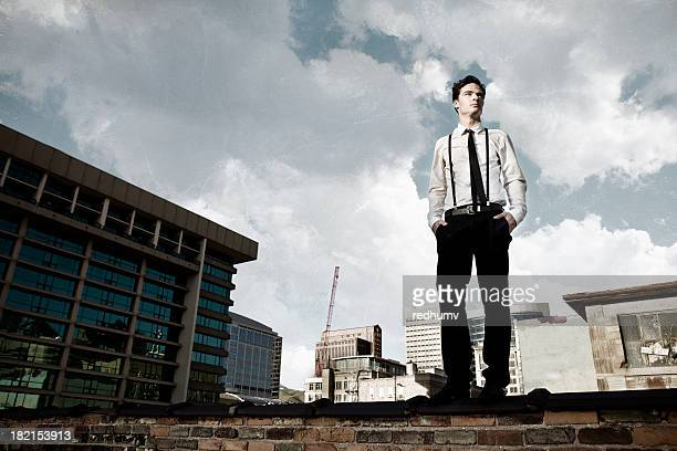 Young Man on City Rooftop