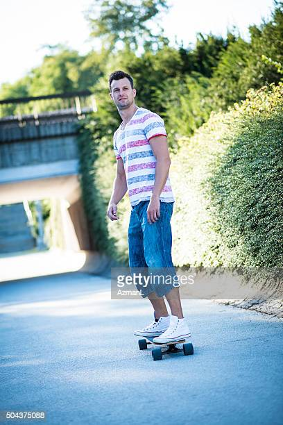 Young man on skateboard in the city