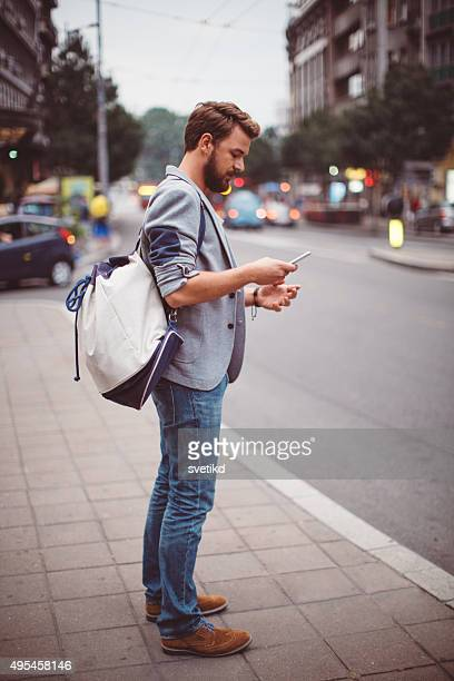 Young man on the streets of big city.