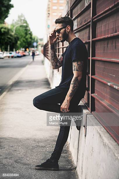 young man on the streets - most handsome black men stock photos and pictures