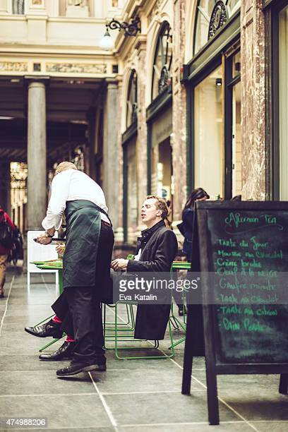 Young man ordering coffee