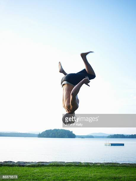 Young man performing flips