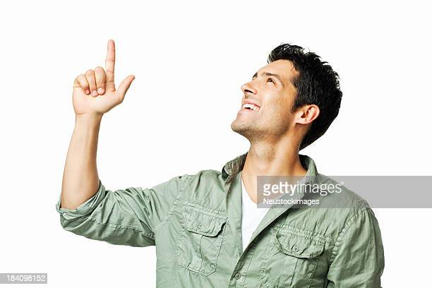 Young Man Pointing Upwards - Isolated