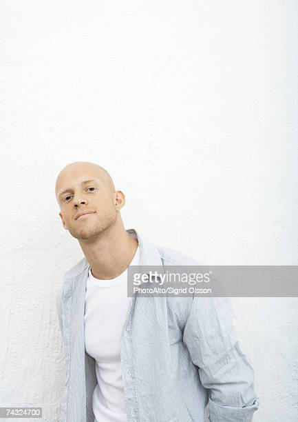 young man, portrait - completely bald stock pictures, royalty-free photos & images