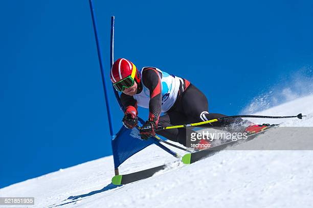 young Man Practicing Giant Slalom