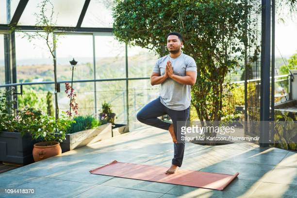 young man practicing tree pose on exercise mat - standing on one leg stock pictures, royalty-free photos & images