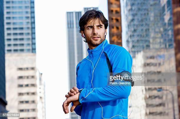 Young man preparing for a run