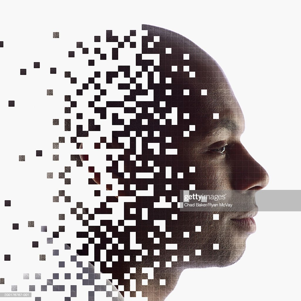Young man, profile (Digital Composite) : Stock Photo
