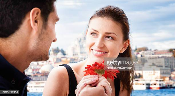 Young man proposes to his grilfriend on Istanbul cruise