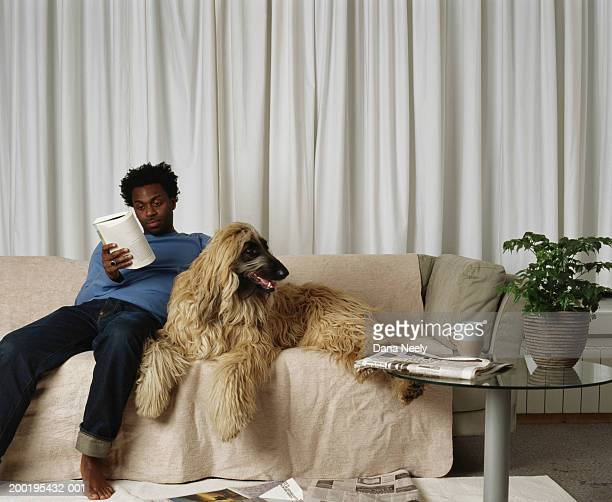 Young man reading on sofa next to afghan hound