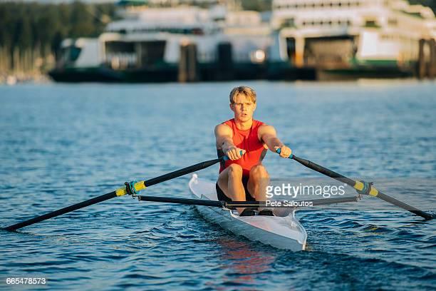 Young man rowing single scull on Puget Sound, Winslow, Bainbridge Island, Washington State, USA