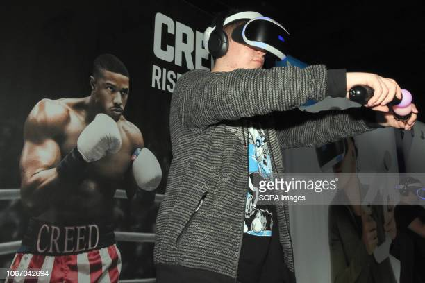 L´HOSPITALET BARCELONA SPAIN A young man seen playing with virtual reality glasses during the Barcelona Games World Fair