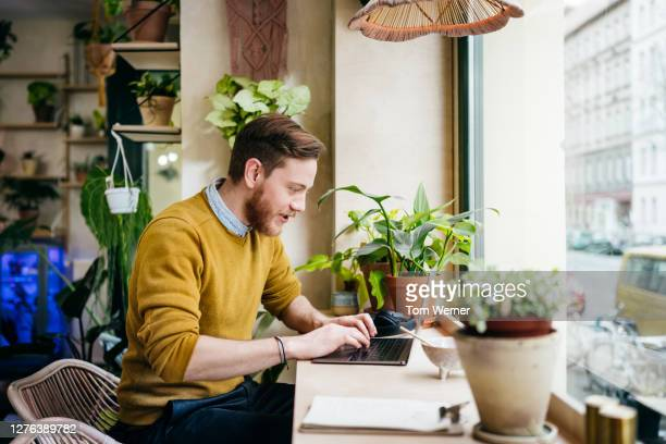 young man sitting in café using laptop - using laptop stock pictures, royalty-free photos & images