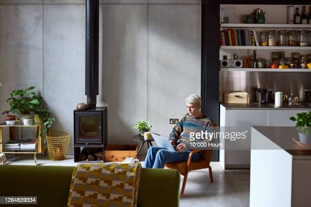 young man sitting on chair using laptop - living room stock pictures, royalty-free photos & images