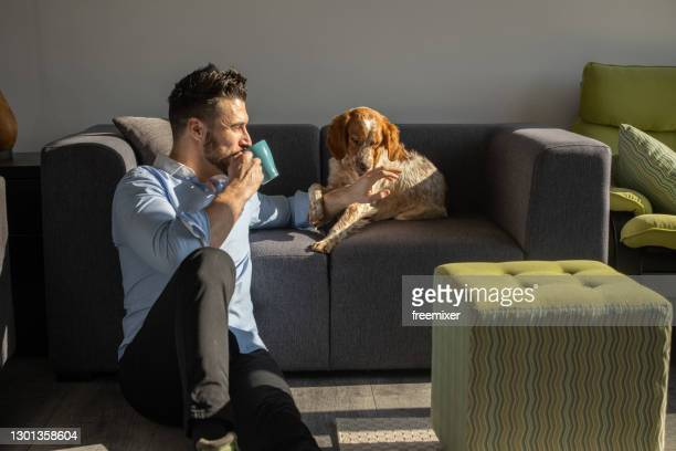 young man sitting on floor and spending time with his dog while drinking coffee - young animal stock pictures, royalty-free photos & images