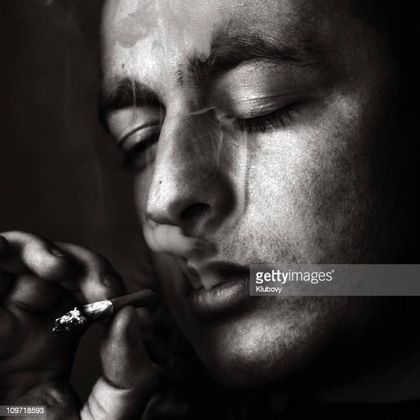 Young Man Smoking Cigarette, Black and White