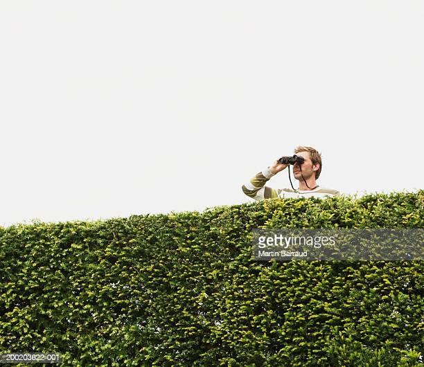 Young man standing behind garden hedge, looking through binoculars