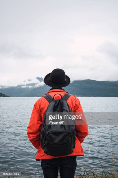 Young man standing by water, looking at distance, rear view