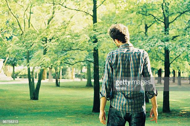 A young man standing in forest