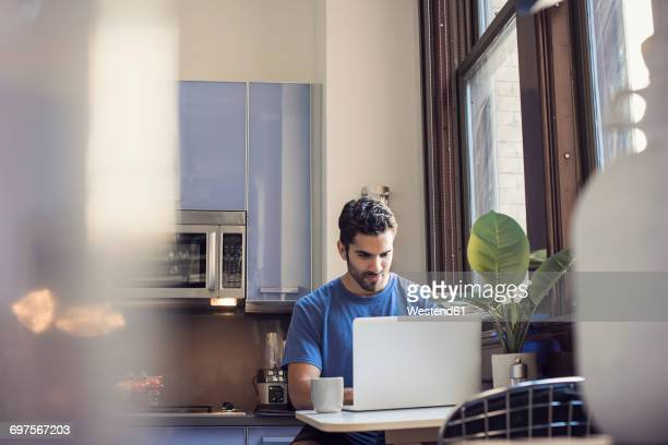 Young man standing in kitchen using laptop