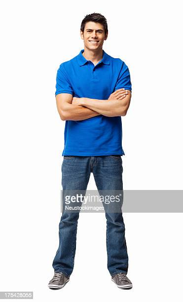 young man standing with arms crossed - isolated - white pants stock pictures, royalty-free photos & images