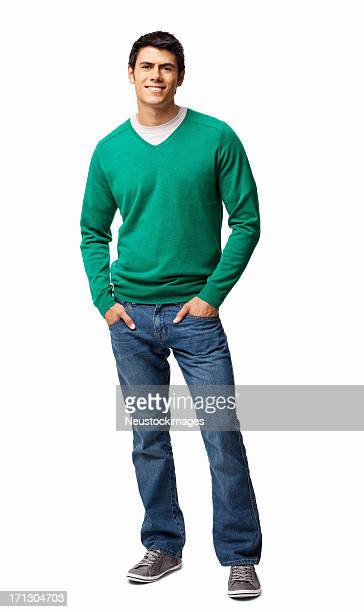 Junger Mann stehend mit Händen In den Taschen-isoliert