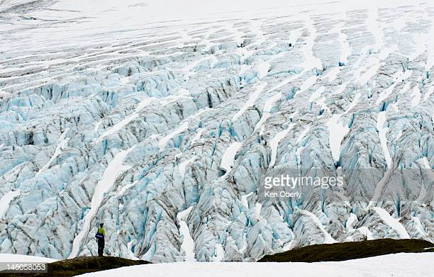 A young man stands in wonder in front of the Exit Glacier in Seward, Alaska.