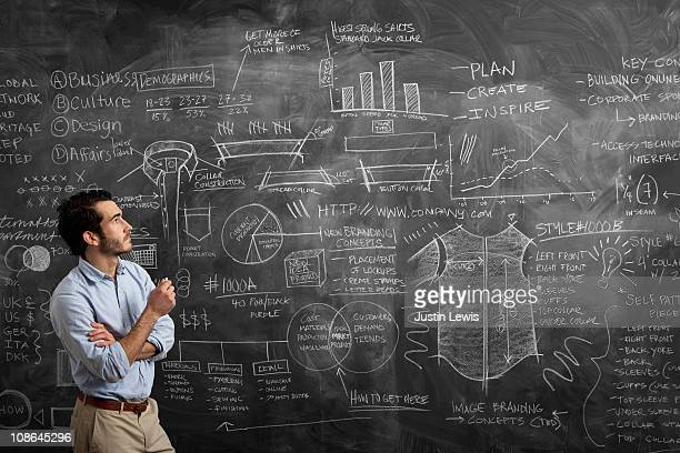 Young man staring at a chalkboard of options