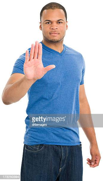 young man stop gesture - royal blue stock pictures, royalty-free photos & images