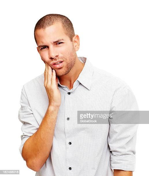 Junger Mann leiden Zahnschmerz