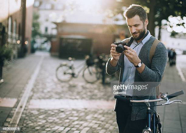 Young man taking a photo
