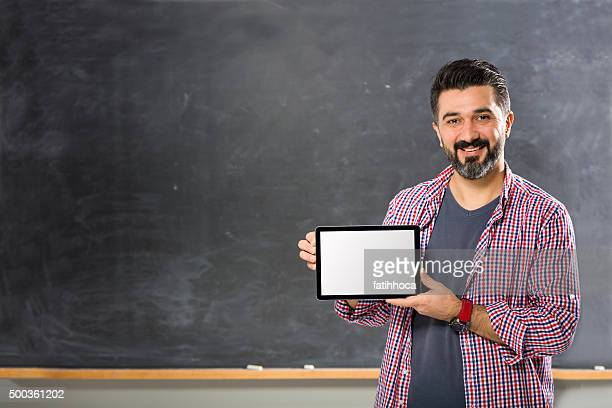 Young Man Teacher and Tablet