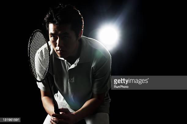 young man training,badminton - スポーツ バドミントン ストックフォトと画像