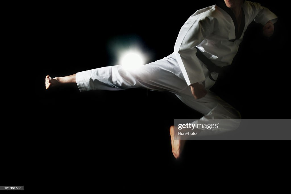 young man training,taekwondo : Stock Photo