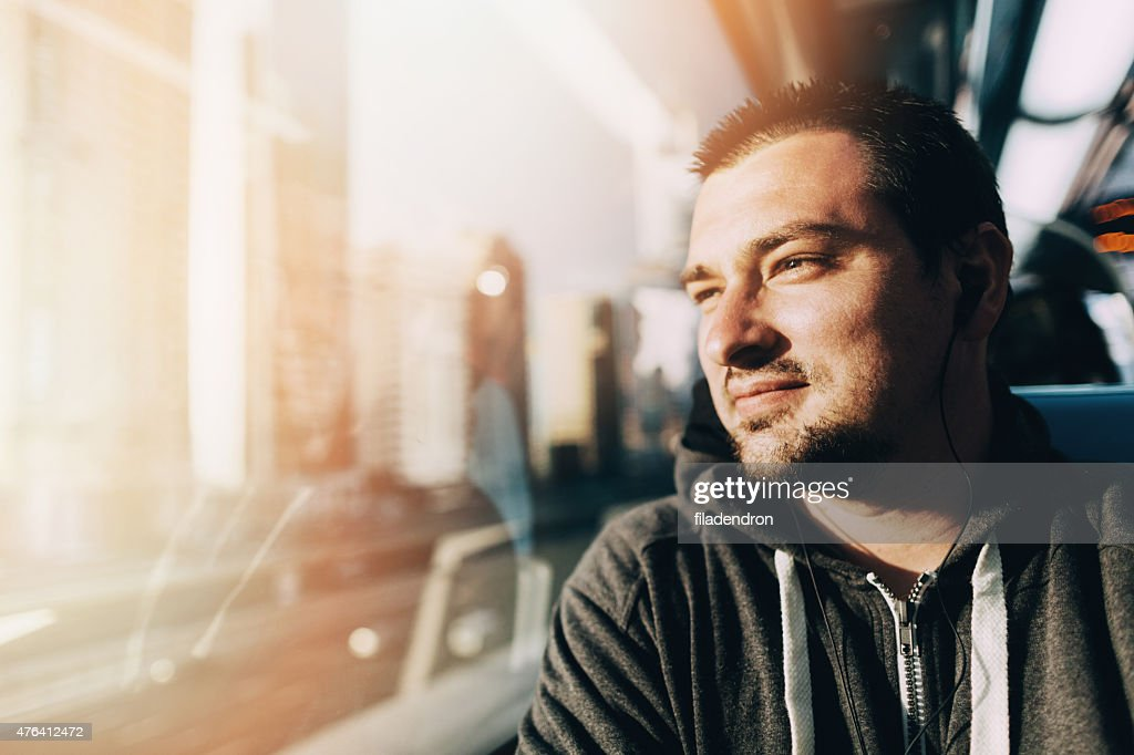 Young man  traveling in the train : Stockfoto
