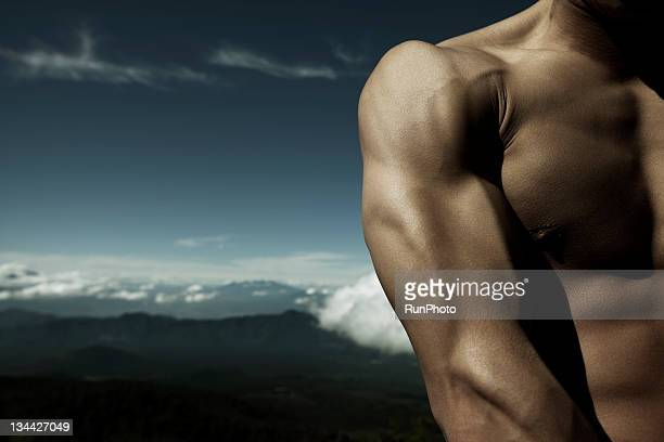 young man upper body close-up in nature