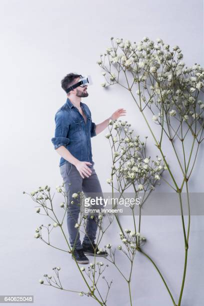 Young man using a virtual reality headset