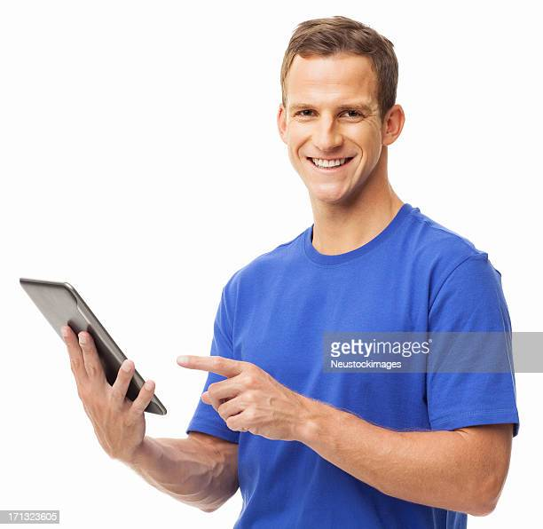 Young Man Using Digital Tablet - Isolated