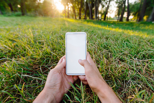 Young man using smartphone while lying in the park on green grass, personal perspective view - gettyimageskorea