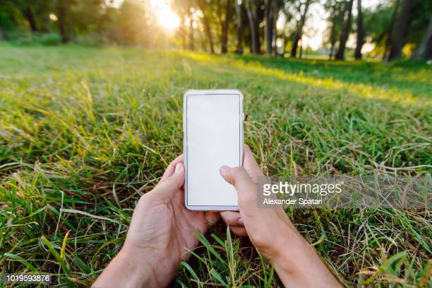 Young man using smartphone while lying in the park on green grass, personal perspective view