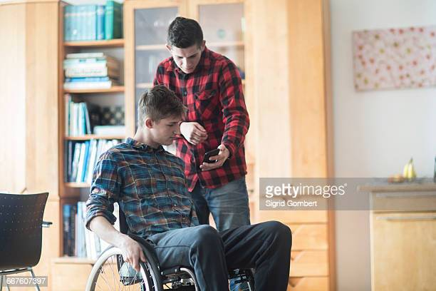 young man using wheelchair reading smartphone texts with friend in kitchen - sigrid gombert stock pictures, royalty-free photos & images