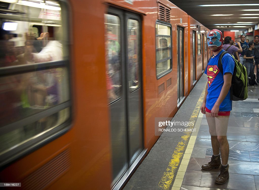 A young man waits to board a train at a subway station during the worldwide 'No Pants Subway Ride' event in Mexico City on January 13, 2013. The 'No Pants Subway Ride', though in its 12th year, still surprises fellow passengers on public transit, and is spreading to other cities across the globe.
