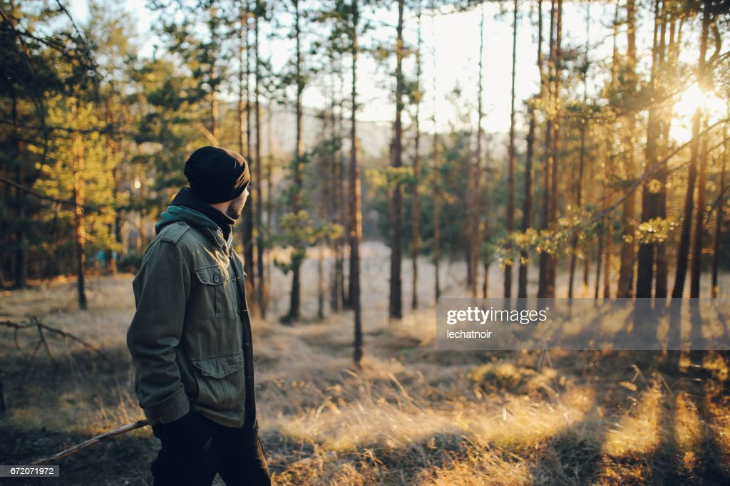 Young man walking in the beautiful forest outdoors : Stock Photo