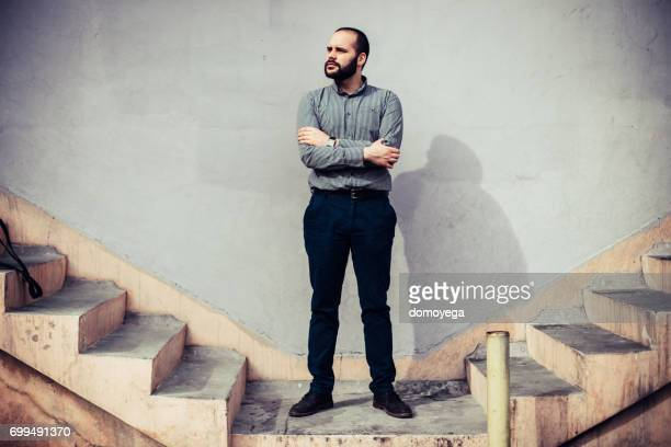 Young man walking on the stairs