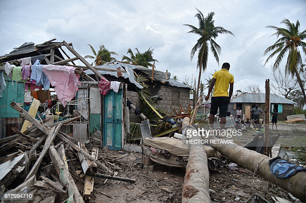 A young man walks on a palm tree in front of a destroyed house after Hurricane Matthew in Croix MarcheaTerre in Southwest Haiti on October 6 2016...