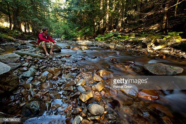 a young man watches a shallow river flow by in idaho. - grouse mountain ストックフォトと画像