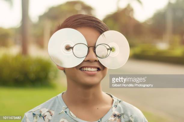 young man wearing cd glasses - meme stock pictures, royalty-free photos & images